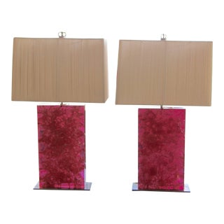 Crackle Resin Pink Lamps With Silk String Shades- A Pair For Sale