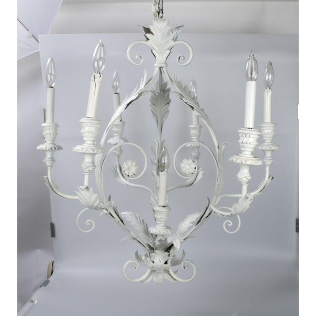 Italian Metal Flower Leaf Chandelier For Sale - Image 4 of 10