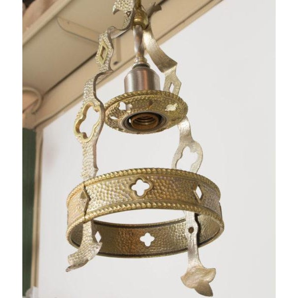 Small Brass and Nickel Hall Fixture For Sale - Image 4 of 9
