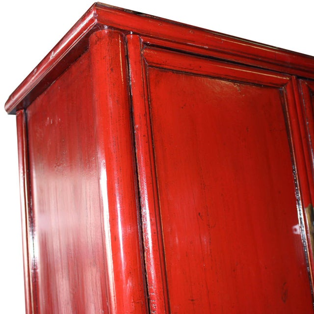 Vintage Chinese Red Lacquer Armoire Wardrobe Chest - Image 5 of 6