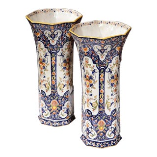 19th Century Rouen French Hand-Painted Vases - A Pair For Sale