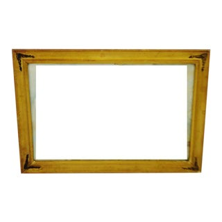 Early Wood and Gesso Picture Frame With Brass Corner Adornments For Sale