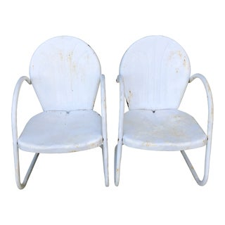 Antique White Metal Chairs- A Pair For Sale