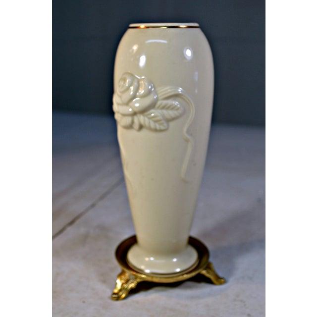 Cottage Vintage Lenox Porcelain Rosebud Vase For Sale - Image 3 of 8