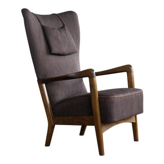 Danish Mid-Century Higback Lounge Chair With Open Armrests by Fritz Hansen For Sale