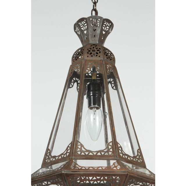 Mid 20th Century Moroccan Moorish Clear Glass Metal Pendant For Sale - Image 5 of 7