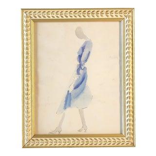 Vintage Original Female Fashion Watercolor Painting For Sale