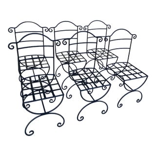 Wrought Iron Asian Inspired Set of 6 Patio Chairs For Sale