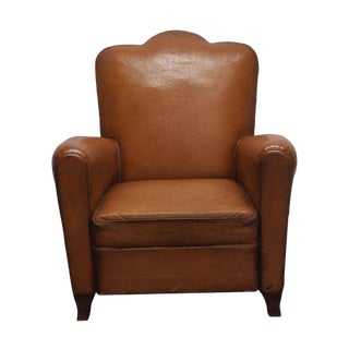 Vintage Imported Leather Club Chair For Sale