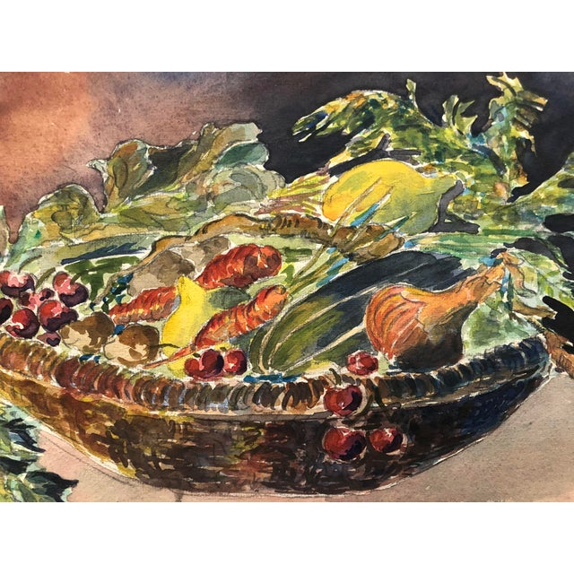 Traditional 1930 Vegetable Harvest Still Life by Olga Soliva For Sale - Image 3 of 5