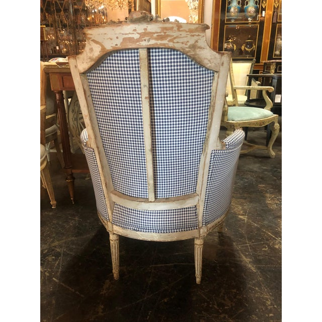 18th Century French Louis XVI Style Carved and Painted Bergère For Sale - Image 4 of 7