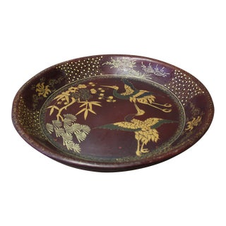 Chinese Brown Lacquer Golden Scenery Round Tray Display Art