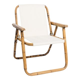 Mid-Century Bamboo and Canvas Folding Chair For Sale