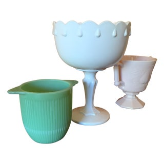 Art Deco Colored Milk Glass Vases - Set of 3