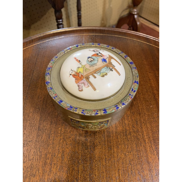 Antique Chinese Brass and Enamel Box With Porcelain Top. For Sale In Chicago - Image 6 of 6