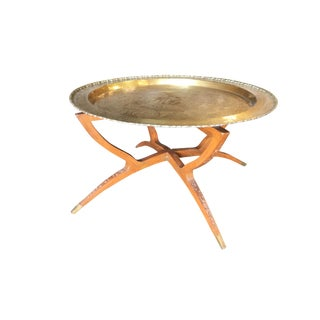 Chinese Folding Coffee Table With Brass Charger Tray For Sale
