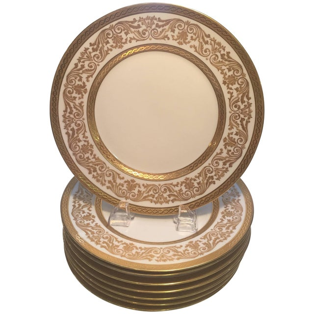 Early 20th Century French Gold Encrusted Dinner Plates - Set of 8 For Sale - Image 5 of 5