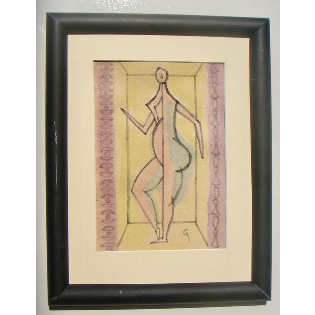 1960s Gilberg Abstracted Figurative Drawing For Sale - Image 5 of 5