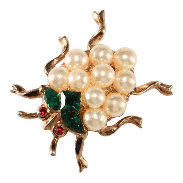 Trifari Ladybug Faux Pearl Rhinestones Insect Bug Pin Brooch For Sale