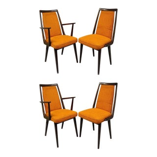 Vintage Mid-Century Modern Danish Walnut Dining Chairs - Set of 4 For Sale
