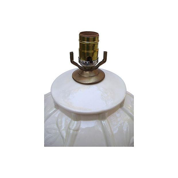White Ceramic Bamboo Design Lamps - A Pair For Sale - Image 4 of 6