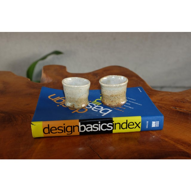 Mid-Century Modern Vintage Studio Pottery Ceramic Stoneware Saki Cups For Sale - Image 3 of 7