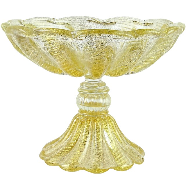 Barovier Toso Murano Gold Flecks Italian Art Glass Footed Compote Bowl For Sale