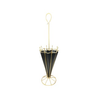 1950s Hollywood Regency Brass Umbrella Stand For Sale