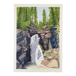 "1980s Wm Roger Clark ""Wyoming Waterfall"" Serigraph For Sale"