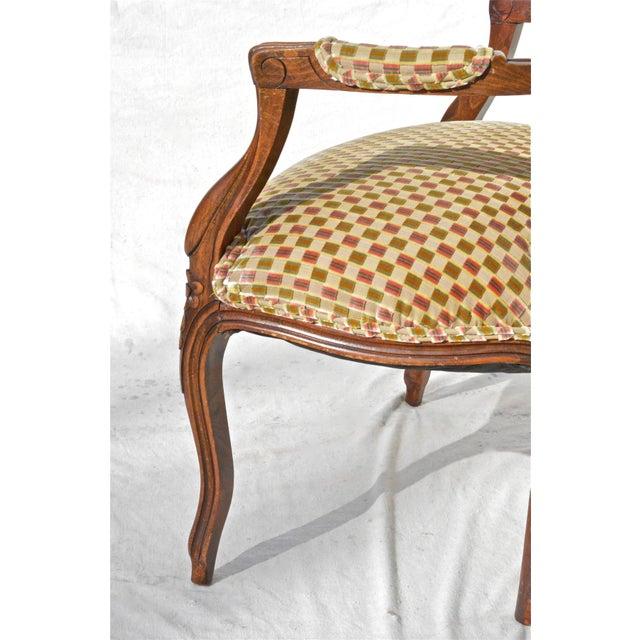 Textile Vintage Louis XV Fauteuil in Cut Velvet For Sale - Image 7 of 8