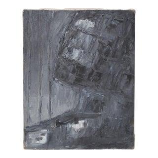 "Arthur J. Krakower (1921-2009) ""Black & Gray Abstract"" Original Oil on Canvas c.1998 For Sale"