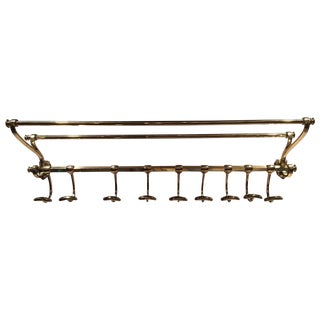 French Solid Brass Coat Rack and Wall Shelf, 19th Century For Sale