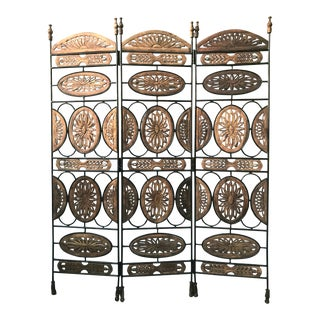 Large Three Panel Iron and Carved Wood Room Divider For Sale