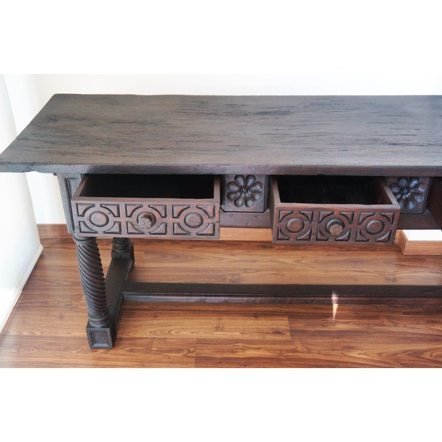 Late 18th Century 18th Spanish Baroque Carved Walnut Refectory Table For Sale - Image 5 of 10