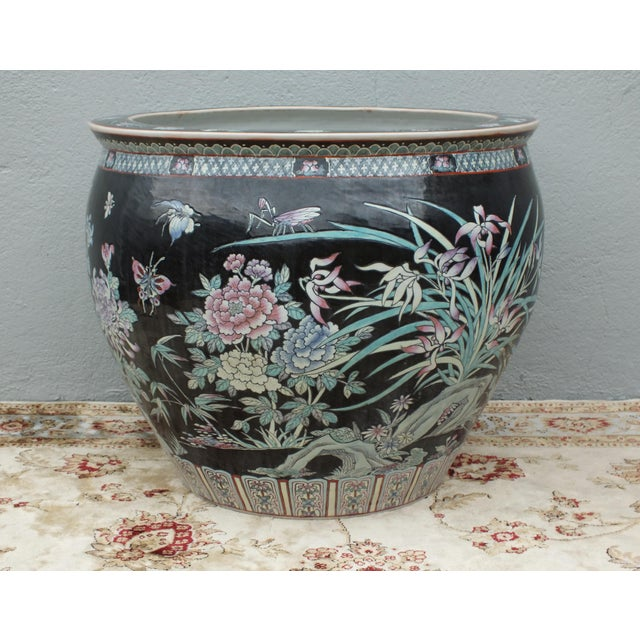 Qianlong Chinese Famille Noir Fish Bowl Planter For Sale - Image 11 of 11