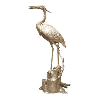 Large Silvered Heron Fountain Ornament From Italy, 20th Century For Sale