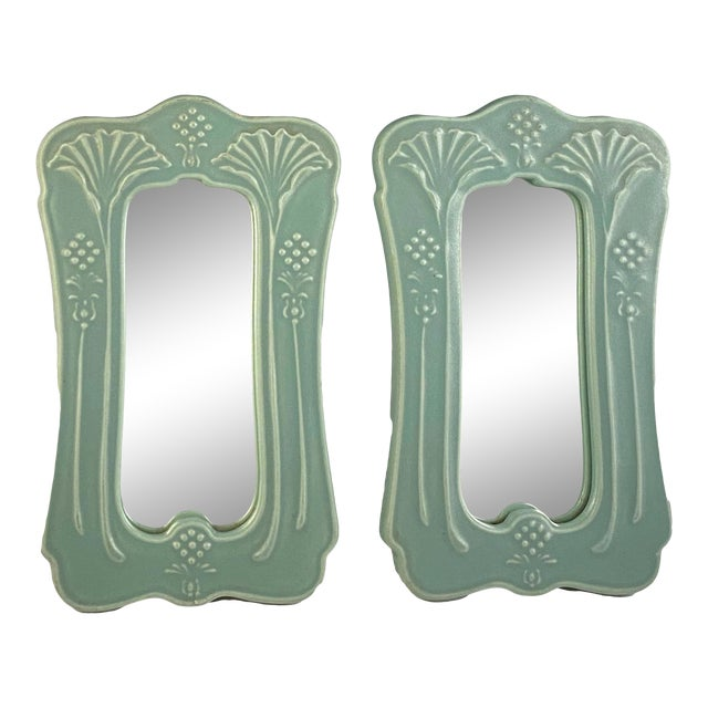 Mid 20th Century Art Nouveau Mirrors by Crowning Touch Japan Celadon For Sale