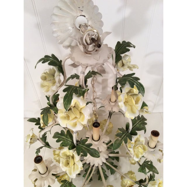 1950s Italian Toleware Six-Light Yellow Porcelain Rose Chandelier For Sale - Image 10 of 12