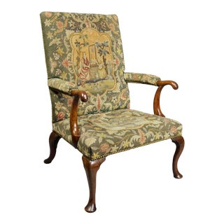 Early 18th Century Queen Anne Walnut and Needlepoint Upholstered Armchair For Sale