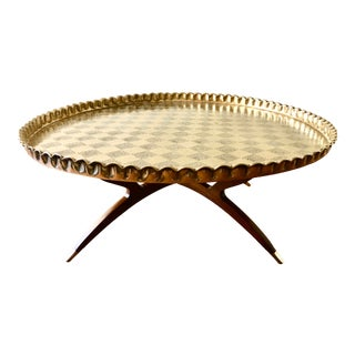 Mid-Century Large Turkish Round Brass Tray Table For Sale