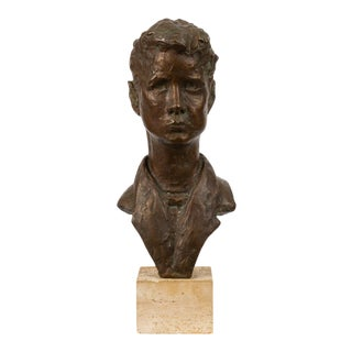 Bronze Bust of Young Man on Travertine Mount For Sale