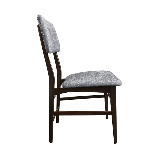 Midcentury Vittorio Dassi wood-frame dining chairs newly upholstered in steel blue cut velvet. Italy, 1950s. Six chairs...