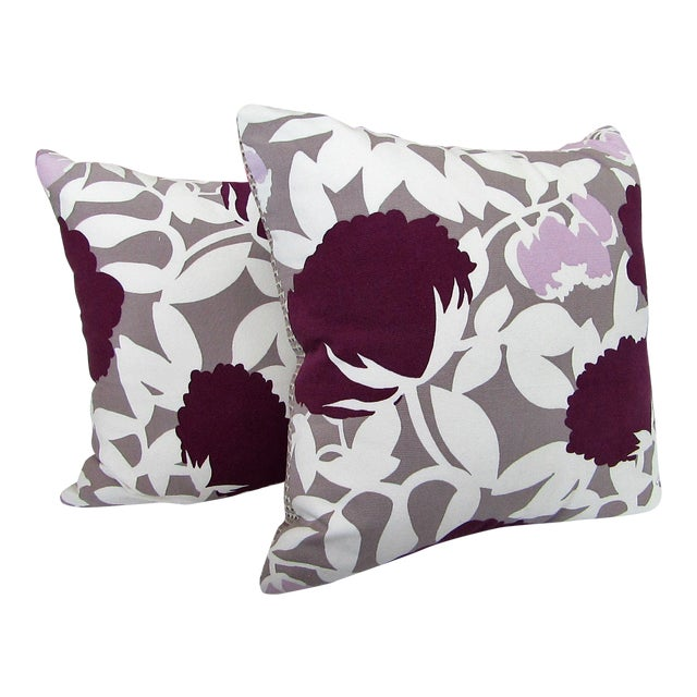 Reversible Floral Printed Accent Pillows - A Pair For Sale
