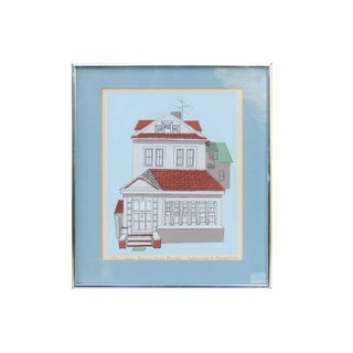 Framed Town House Sketch For Sale
