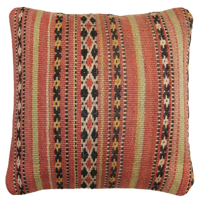 Rug and Relic Light Coral Stripe Kilim Pillow - Image 1 of 2