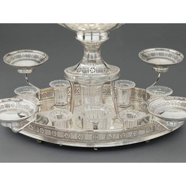 Hollywood Regency Sheffield Silver Plate Rolling Dessert Stand For Sale - Image 3 of 5