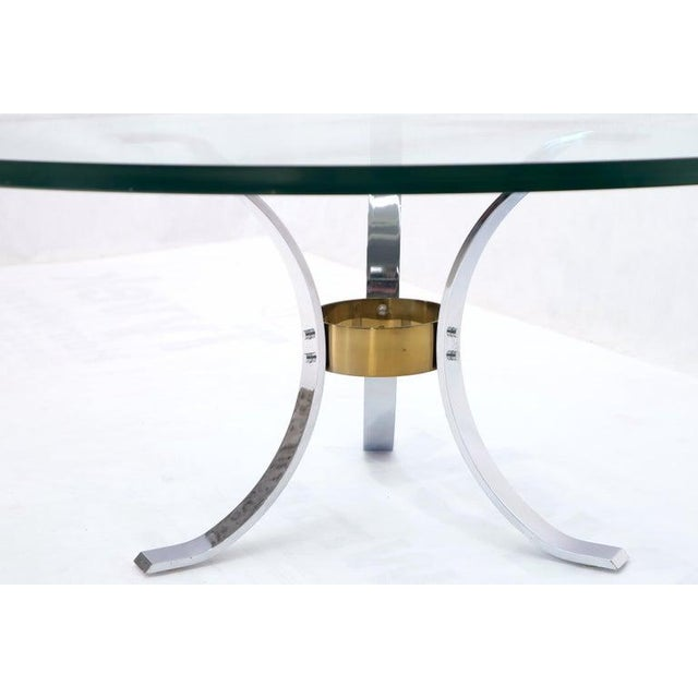 "Heavy Thick 3/4"" Glass Round Top Chrome & Brass Tripod Base Coffee Table For Sale - Image 10 of 12"