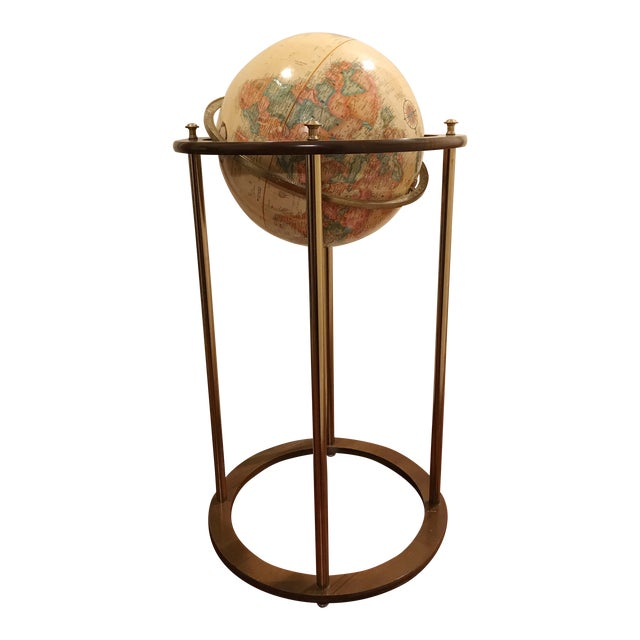 Vintage Replogle Brass and Wood World Globe on Stand For Sale