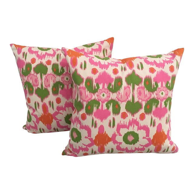 Pink, Orange & Green Ikat Pillows - A Pair For Sale