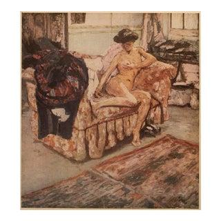 "1948 After Édouard Vuillard ""Nude on a Sofa"" Vintage Parisian Print For Sale"
